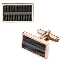 Cufflinks 137843: Mens Rose Gold Ip Stainless Steel With Black Mesh Cufflinks -> BUY IT NOW ONLY: $32.99 on eBay!
