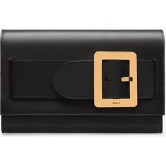 Bally BELLE CLUTCH Women's calf leather clutch bag in black (€970) ❤ liked on Polyvore featuring bags, handbags, clutches, over the shoulder purse, clasp handbag, buckle purses, chain handle handbags and magnetic clasp purse