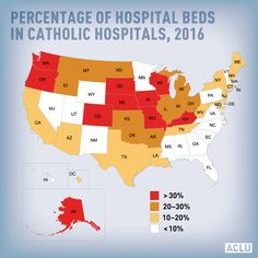 Percentage of hospital beds in Catholic hospitals in the USA, 2016