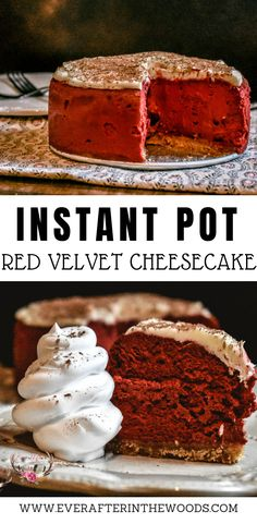 The Instant Pot has taken over kitchens across the country. Did you know that you could make dessert in the Instant Pot as well? This Red Velvet Instant Pot Cheesecake Recipe is delicious and perfect for Valentine's Day. Instant Pot Cheesecake Recipe, Cheesecake Recipes, Dessert Recipes, Healthy Cheesecake, Baking Desserts, Yummy Recipes, Red Velvet Cheesecake, Chocolate Cheesecake, Pecan Cheesecake
