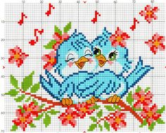 Patterns of embroidery of birds with children 0 Cross Stitch Love, Cross Stitch Animals, Modern Cross Stitch, Cross Stitch Flowers, Cross Stitch Charts, Cross Stitch Designs, Cross Stitch Patterns, Cross Stitching, Cross Stitch Embroidery