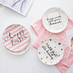 4e3919edbda Barato Chique Criativo Adorável Cerâmica Freehand Desenhando Onda Dot Placa  Bife Branco Ouro Rosa Aromatizantes Pratos
