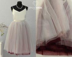 Пышная юбка из фатина  70см омбре цветов: темное вино, пудра и айвори
