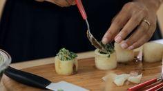 Nabo recheado com caruru  Recheio leva missô, uma pasta de soja fermentada, e o tahine feito de gergelim