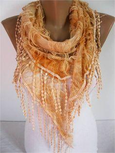Elegant  Orange  Scarf   gift Ideas For Her Women's by MebaDesign