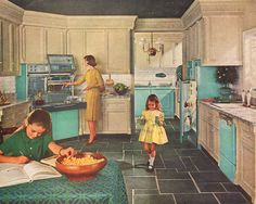1963 Retro Kitchen Ad Turquoise Frigidaire Refrigerator Pull Out Stove Washer Dryer.