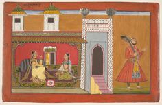 Devidasa of Nurpur (active ca. 1680 – ca. 1720). A Courtesan and Her Lover Estranged by a Quarrel (detail). Page from a Rasamanjari series, Opaque watercolor, ink, silver, and gold on paper, India, Punjab Hills, Basohli, dated 1694–95, The Rasamanjari (Essence of the Experience of Delight) is a series of late fifteenth-century poems that subtly categorizes amorous situations, moods, and physical traits of women. ...