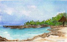ORIGINAL Aruba  Watercolor Painting Seascape by SharonFosterArt, $18.00