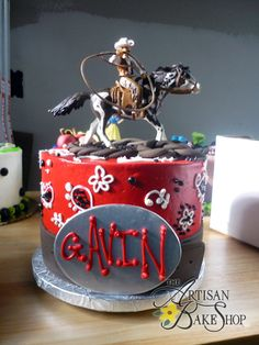 Red Cowboy & Horse Figurine Round Buttercream Cake w/ Paisley Silver Belt Buckle & Leather Belt