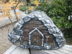 ROCKIN MOUNTAIN SHED  detailed rock art by MyGardenRocks on Etsy