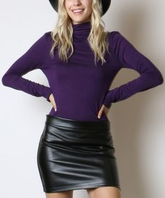 A classic cut and stylish color—there's no better combination. Slip into this turtleneck for a great look any and every day. That Look, Take That, Dark Purple, Capsule Wardrobe, Turtleneck, Leather Skirt, Stylish, Womens Fashion, Skirts