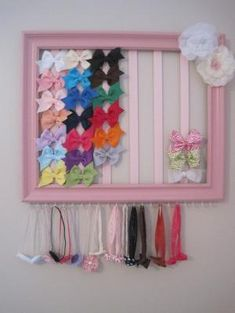 headband & bow holder out of painted picture frame, ribbon, and hooks--follow me (Hannah Hunter Seagraves) for more interesting pins, I follow back!! #follow #followme #followback #diy #pictureframe #bows #headband #ribbon #bowholders #headbandholder #littlegirl #babygirl #baby #girl #crafty #crafts #artsy by emalouwright