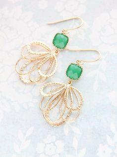 Jade Green Glass Earrings Modern Gold Dangle by apocketofposies