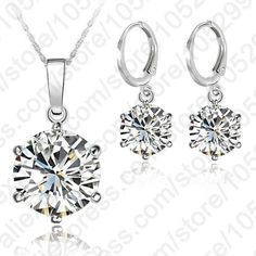 925 Sterling Silver 8MM Jewelry Sets Cubic Zircon Crystal Lever Back Earrings   Pendant Necklace   matans store.myshopify.com