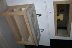 Badmeubel van eikenhout en beton, incl spiegel met lijst; Richtprijs ...