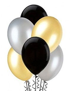 Balloons black, silver and gold x25