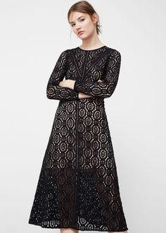 Vestido midi guipur - Vestidos de Mujer | MANGO España