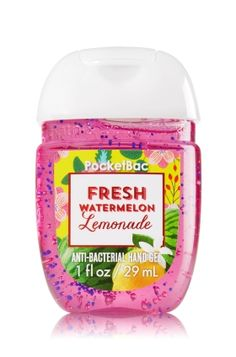 Fresh Watermelon Lemonade - PocketBac Sanitizing Hand Gel - Bath & Body Works - Now with more happy! Our NEW PocketBac is perfectly shaped for pockets & purses, making it easy to kill 99.9% of germs when you're on-the-go! New, skin-softening formula conditions with Aloe & Vitamin E to leave your hands feeling soft and clean.