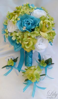 all color hydrangeas boquets | 17pcs Wedding Bridal Bouquet Set Decoration Package Silk Flowers Green ...