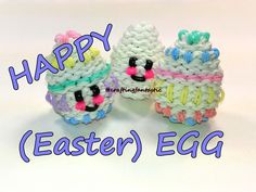 awesome Happy (Easter) Egg Tutorial by feelinspiffy (Rainbow Loom) Rainbow Loom Tutorials, Rainbow Loom Patterns, Rainbow Loom Creations, Rainbow Loom Bands, Rainbow Loom Charms, Rainbow Loom Bracelets, Rubber Band Charms, Rubber Bands, Wonder Loom