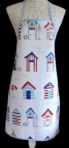 BEACH HUTS PVC APRON: Amazon.co.uk: Kitchen & Home