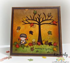 """Fall Thinking of You card featuring Miss Kate Cuttables and Mama Elephant """"In My Heart"""" stamp set. September 2014."""