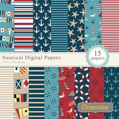 Nautical scrapbook paper 12x12, nautical digital scrapbooking paper, $5.00, via Etsy.