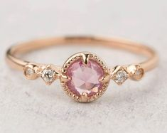 Beautiful unique unheated natural pink sapphire engagement ring in rose gold. This elegant rose cut pink sapphire ring will make every woman look and feel uniquely beautiful. Pink Sapphire Ring, Pink Ring, Green Sapphire, Rosa Ring, Small Gold Hoop Earrings, Silver Necklaces, Silver Jewelry, Silver Rings, The Sapphires