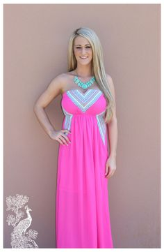 THIS IS OUR FAVORITE!!! Love the Color!! Ruffled Feathers Boutique - All About Fuschia Maxi, $39.99 (http://www.ruffledfeathersboutique.com/all-about-fuschia-maxi/)
