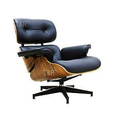 eames style lounge chair ottoman black high grade pu leather