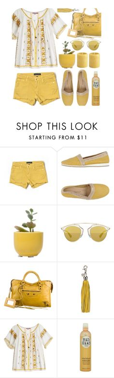 """""""Shades of Yellow"""" by julesdiaries ❤ liked on Polyvore featuring Juicy Couture, Lara Manni, Dot & Bo, Christian Dior, Balenciaga, Coccinelle, Calypso St. Barth, Bed Head by TIGI, women's clothing and women"""