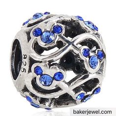 Minnie and Mickey Mouse Infinity with Sapphire Austrian Crystal September Birthstone 925 Sterling Silver Bead Fits Pandora Charm Bracelets