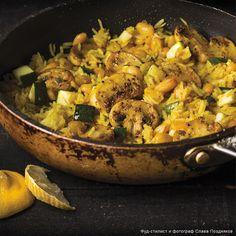 Рецепт - Паэлья с грибами, цукини и фасолью - с фото