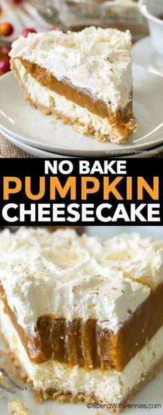 No Bake Pumpkin Cheesecake is a dreamy dessert with layers of cheesecake, spiced pumpkin and whipped topping all nestled in a graham crust. It is so creamy and delicious, it will become your new fall dessert go to! (pumpkin dessert no eggs) Desserts Nutella, No Bake Desserts, Just Desserts, Delicious Desserts, Coconut Desserts, Delicious Dishes, Dessert Oreo, Low Carb Dessert, Pumpkin Dessert
