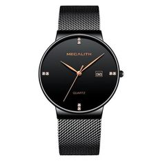 Relogios Masculino MEGALITH Men Watches 2018 Luxury Brand Ultra Thin Date Clock Male Mesh Strap Casual Sports Quartz Watches Men From Touchy Style Outfit Accessories ( black gold ) Cheap Watches For Men, Cool Watches, Black Watches, Men's Watches, Wrist Watches, Luxury Watches, Fashion Watches, Men's Fashion, Fancy Watches