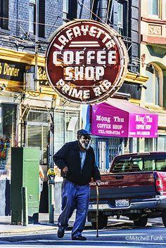 Vintage Lafayette Coffee Shop Sign In The Tenderloin, San Francisco By Mitchell Funk www.mitchellfunk.com