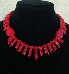 Red Coral Bamboo Necklace with matching Red by LolasCustomJewelry, $54.00