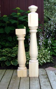 A wood newel post with matching wood baluster pattern. Wood Balusters, Staircase Remodel, Newel Posts, Lathe, Wood Turning, Wood Table, Stairways, Interior And Exterior, Wood Projects