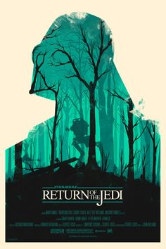 Return of the Jedi. Star Wars movie posters by Olly Moss. I really like this poster, and can picture it on virtually on any fan's wall. It's a beautiful image, with such fresh aqua tones. I like how the branches were also made to shape the features of Darth Vader's face.