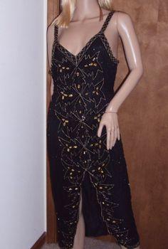 Silk Black Party Dress Gold Sequins Beaded Sleeveless Formal Evening Gown Slit #Unbranded #BeadedDress #Formal