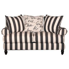 """RC Willey - 66"""" Black and White Stripe Upholstered Loveseat"""