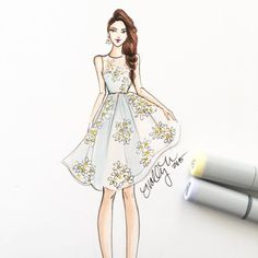 Valentino dress, sketch by Holly Nichols.