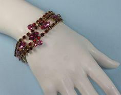 Vintage Pink Fuchsia Red Rhinestone Bracelet by PastSplendors, $43.00