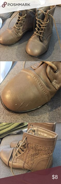 Girls sz 4 dressy boots lace detail Dark beige color. Super cute. One scuff on toe see pic girls size 4 fits womens 6. Not michael kors KORS Michael Kors Shoes Boots