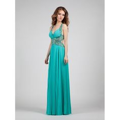 Evening pleated dress with beading