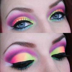 Awesome eye makeup for rave or black light party