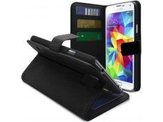 Smart Cover Galaxy S5 Cuirette Pleine Fleur Noire