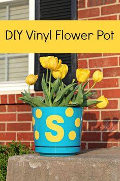 DIY Vinyl Flower Pot by dreamsicle sisters