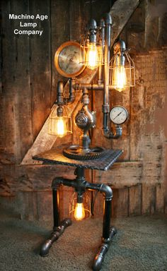 Steampunk Diamond Plate Industrial Lamp Table Stand Floor 3
