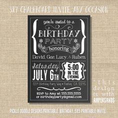 Printable Chalkboard Black & White Party Invitation: Printable Chalkboard Birthday or Anniversary Invite, 5x7 printable